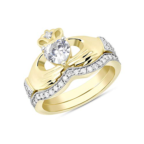 CaliRoseJewelry Yellow Gold 10k Irish Claddagh Birthstone Ring Set April (Size 8)