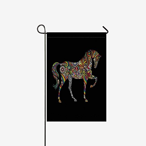 Garden Flag Home House Banner Horse Silhouette with Mandala