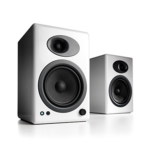 Audioengine A5 Powered Desktop Speaker Bundle with DS2 Desktop Speaker Stands – Pair White