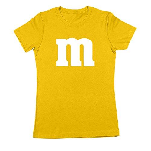 [M Chocolate Candy Halloween Costume Womens Shirt Large Gold] (Womens M&m Halloween Costume)