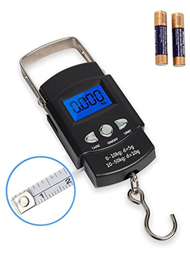Fishing Scale, Hanging Scale, Rockjame Backlit LCD Screen 110lb/50kg Portable Electronic Digital...