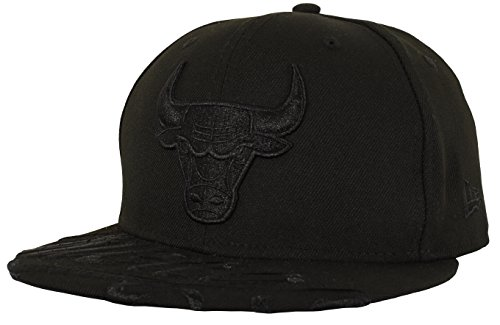 (New Era 59FIFTY Chicago Bulls Visor Script Fitted Cap, Black, Size 7 3/8)