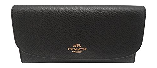 Coach Pebbled Leather Checkbook Wallet Clutch - F16613, Im/Black, One Size