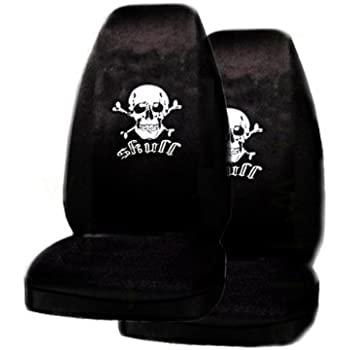 A Set Of 2 Universal Fit Skull White Seat Covers