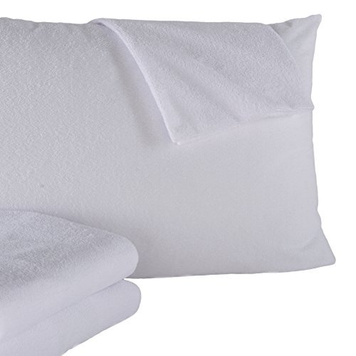Great Bay Home 2-Pack Premium 100% Waterproof Allergy Pillow Protectors. Hypoallergenic Dust Mite & Bed Bug Resistant 100% Cotton Terry Zippered Pillow Covers Brand. (King)