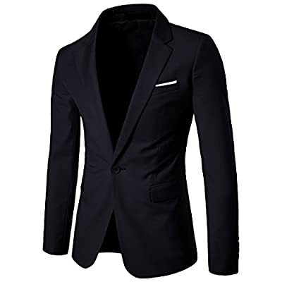 YIMANIE Men's Blazer Slim Fit Casual Suit Coat One Button Business Lapel Suit Jacket