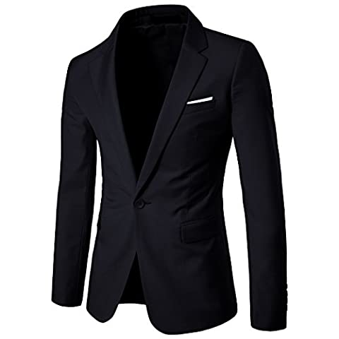 Men's Suit Jacket Blazer Notched Lapel Slim Fit One Button Stylish Dinner Jacket Tuxedo US 38R - Button Fly Suit