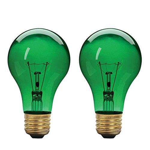 Xtricity A19 Incandescent Colored Light Bulb, 60W, E26 Medium Base, 130V, Green (2 Pack)