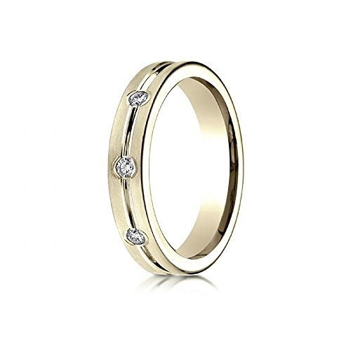 14k Yellow Gold 6mm Comfort-Fit Etched Burnish Set 8-Stone Diamond Eternity Ring (0.32ct) - Size 15 by Wedding Bands Wholesale