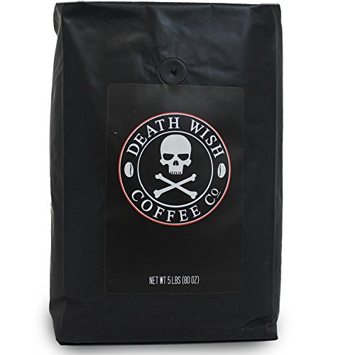 Death Wish Whole Coffee, The World's Strongest Coffee, Fair Trade and USDA Certified Organic - 5 Pound Bulk Value-Bag by Deathwish