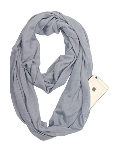 Fashion Solid Color Scarf for Women Infinity Scarf with Zipper Pocket, Best Travel Scarf Grey