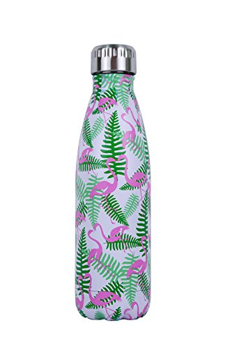 - Luoda Double Walled Vacuum Flask - Insulated Stainless Steel Water Bottle - Leak Proof Cola Shape Portable Water Bottle - No Sweat,Hot/Cold 24 Hours,17 Oz (500 ml) (Pink Cute Flamingo)