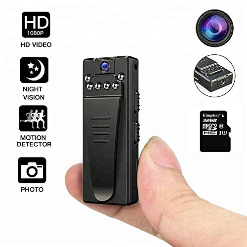 DEXILIO Mini DV Camera,Portable 1080P Mini Digtal Video Recorder DVR Camcorder with Clip for Meeting and Lecture,Spy Cam with Motion Detection/Night Vison/Audio Recorder/Rotatable Lens,Free 32GB Card