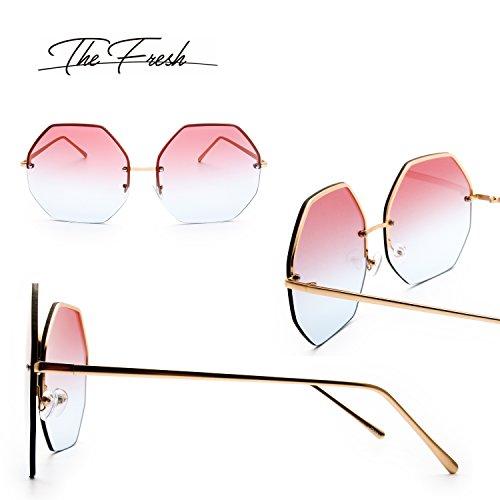 737caf0c46 The Fresh Fashion Designer Huge Hexagon Metal frame Ocean Colored Lens  Sunglasses Gift Box