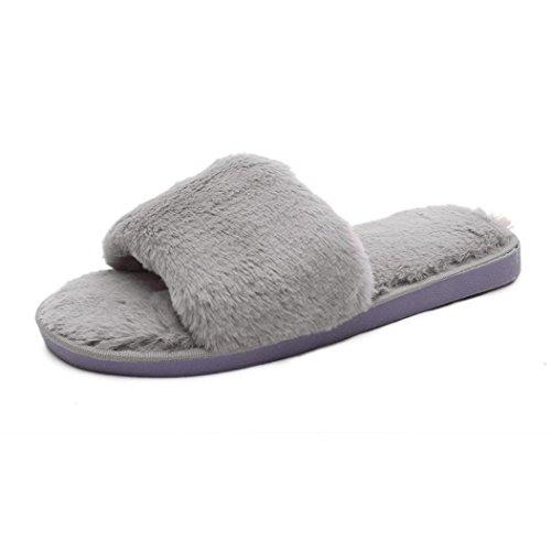 Fluffy Fur Flip Slipper gris Sandal Sliders Slip de Byste Slider femmes Faux Slipper On qAH6TB