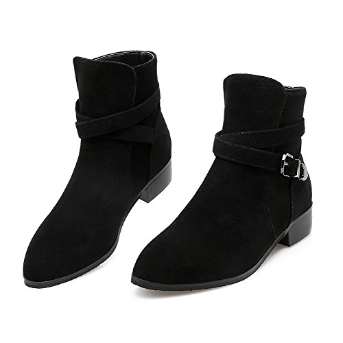 Frosted Heels Allhqfashion Women's Closed Boots Low Buckle Toe Round Top Low Black SxU1a
