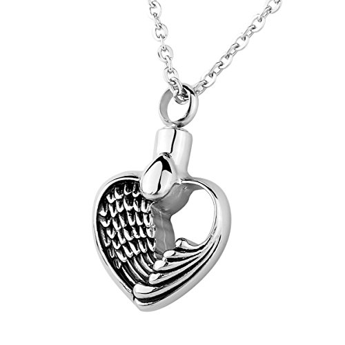 Angel Wing Hollow Heart Memorial Urn Locket Cremation Jewelry Stainless Steel Pendant Necklace