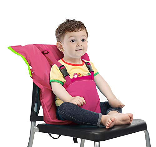 Easy Seat Portable Travel High Chair Safety Washable Cloth Harness for Infant Toddler Feeding with Adjustable Straps Shoulder Belt (Rose Red) (Chair Belt Seat High)