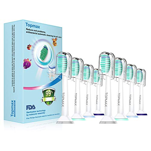 Sonicare Replacement Heads Topmax 8 pack fit DiamondClean Replacement for Philips Sonicare Toothbrush Heads HX6014 ProResults