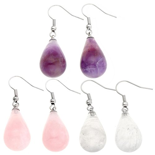 JOVIVI Womens Natural Amethyst Rose Quartz Opalite Gemstone Chakra Teardrop Dangle Hook Earrings 43mm (Gemstone Teardrop Ring)