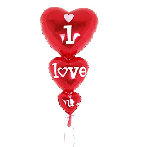 Aristory 1pc Big i Love u Connected Heart Shape Helium Foil Balloons Valentine's Day Wedding Happy Birthday Party DIY Decorations -