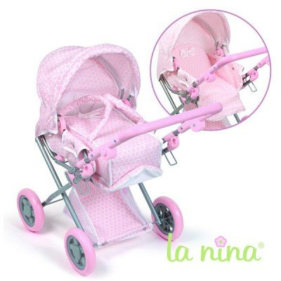 La Nina - Cochecito con cuco para muñecas, color rosa (Diset 60233)