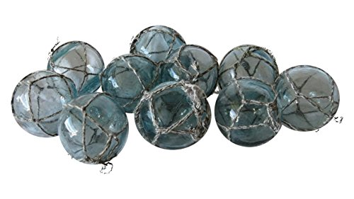 "Japanese Glass Floats 2"" Netted Lot of 10 Aqua Authentic"