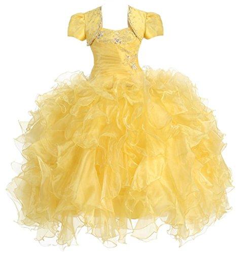 AkiDress Multi Ruffled Organza Dress with Bolero Jacket for Little Flower Girl Yellow 6 by Aki_Dress