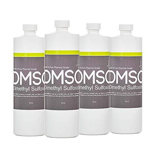 DMSO Dimethyl Sulfoxide 4 Bottles of 16 oz Low Odor 99.995% Pure Pharma Grade, BPA Free