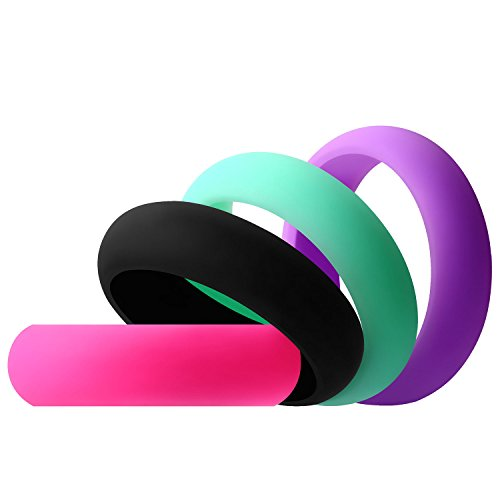 Aven womens Silicone Wedding Ring - 4 Rings Pack - 5.5mm Wide(2mm Thick)-Black, Pink, Purple, Turquoise(8.5) ()