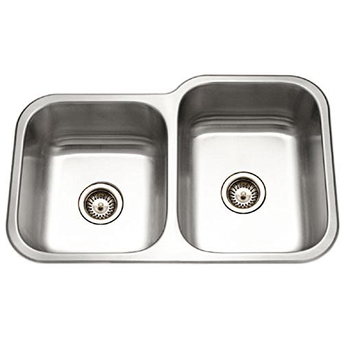 - Houzer EC-3208SL-1 Elite Series Undermount Stainless Steel 60/40 Double Bowl Kitchen Sink, Small bowl left by HOUZER