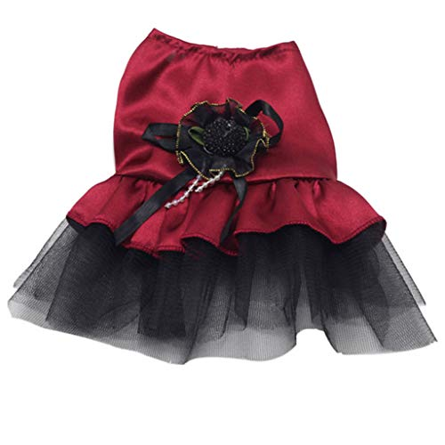 (Lethez Dog Cat Bow Tutu Dress Lace Skirt Pet Puppy Dog Clothes Costume Pet Sleeveless Princess Dress (XS,)