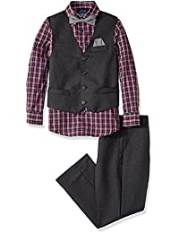 Boys' Four-Piece Solid Twill Vest Set with Bow Tie