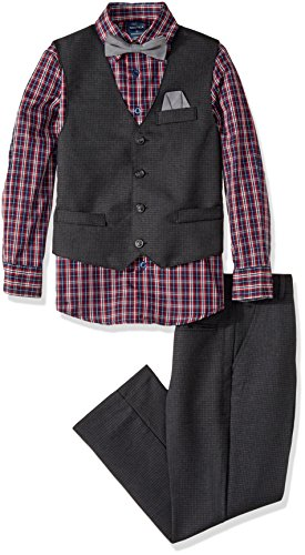 Nautica Big Boys' Set With Vest, Shirt, Pant, and Bow Tie, Black/Grey, 10 Dress Vest Pants