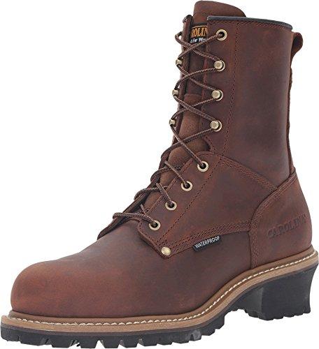 Carolina Men's ST Plain Toe Logger 8,Dark Brown Leather,US 14 D