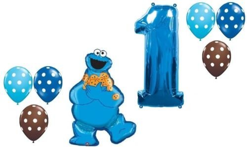 LoonBalloon COOKIE MONSTER Sesame Polka Dots #1 1st Birthday PARTY Mylar Latex BALLOON Set