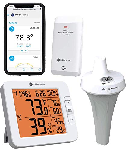 (Ambient Weather WS-8482-3107 7-Channel WiFi Remote Monitoring Weather Station with Indoor/Outdoor Temperature & Humidity, Floating Pool, Spa & Pond Thermometer)