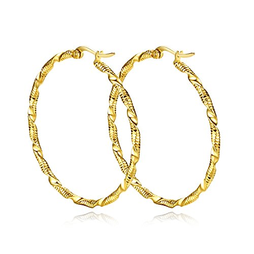 Yumay 10K Yellow Gold Plated Large Hoop Earrings for Women,45MM New Design Hoop Earrings for girls. ()