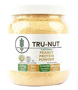 Tru-Nut Proteína de Amendoim em Po - 19 Porçao, 680g Garrafa - Feito nos Estados Unidos, Boa Fonte de Proteína Vegetal, Livre de Glúten, Sem Açúcar e Quimicos