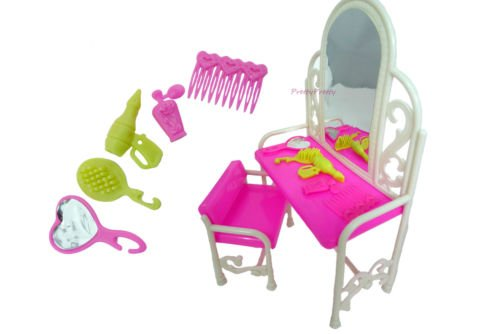 Masingo Fashion Dressing Table And Chair Set For Barbies Dolls Bedroom Furniture