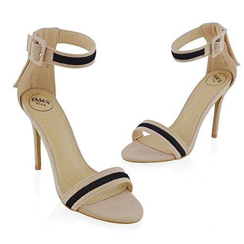ESSEX GLAM Mujer Correa de Tobillo Estilete Sintético Fiesta Zapato Desnudo Gamuza Sintética