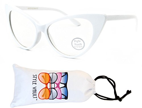 WM516-vp Style Vault Cateye Clear Lens Eyeglasses (S3298V White-Clear, uv400)
