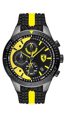 (Ferrari Men's RedRev Quartz Black IP and Silicone Strap Casual Watch, Color: Black (Model: 830590))