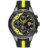 Ferrari Men's RedRev Quartz Black IP and Silicone Strap Casual Watch, Color: Black (Model: 830590)