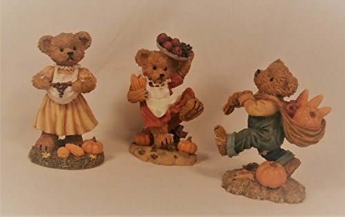 Home Interiors Homco Fall Harvest Bears 3-Piece Collectible Figurine Set