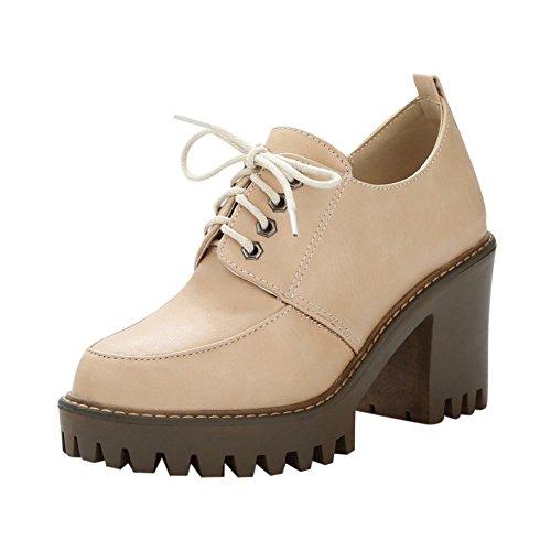 Mee Shoes Damen chunky heels Plateau runde mit Schnürsenkel Pumps Beige