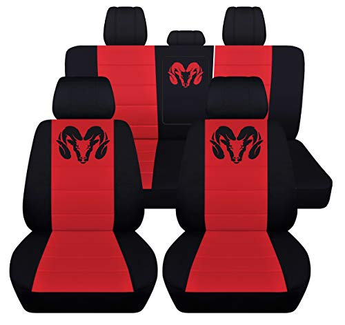 40 20 40 Front and Rear Seat Covers for 2013 to 2018 Dodge Ram 22 Color Options (Rear 40-60 with Armrest, Black Red)