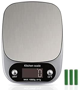 Noosa Life | Food Scale | Kitchen Scale | Digital Scale | Highly Accurate Multifunction Food Scale 10KG CAPACITY, Clean Modern Stainless Steel Finish | Includes Batteries and Backlight LCD Display | 4 Units of Measurement
