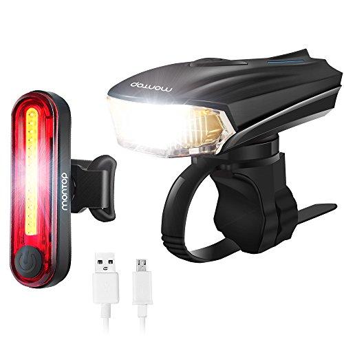 MONTOP Bike Light, USB Rechargeable LED Bike Lights, LED Bicycle Light Set...