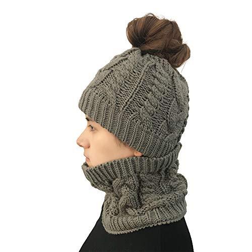 939f099366566 Winter Hat Beanie, Unisex Trooper Trapper Hat, Women Autumn Winter Outdoor  Warm Hats And Bib Set Crochet Knit Holey Beanie Cap(Gray)